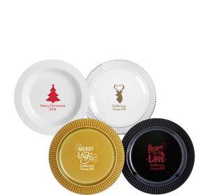 Personalized Christmas Premium Plastic Dessert Plates