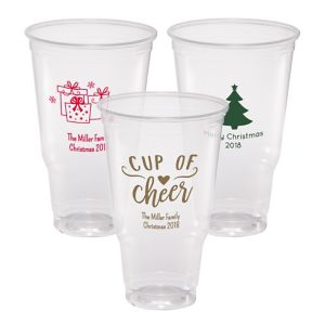 Personalized Christmas Plastic Party Cups 44oz