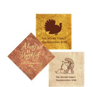 Personalized Thanksgiving Embossed Damask Beverage Napkins