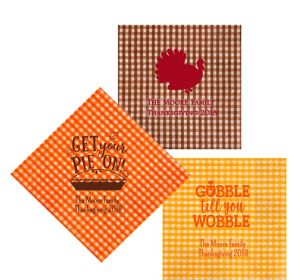 Personalized Thanksgiving Gingham Lunch Napkins