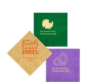 Personalized Thanksgiving Moire Beverage Napkins