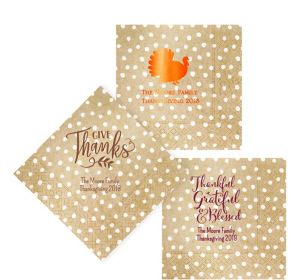 Personalized Thanksgiving Small Dots Lunch Napkins