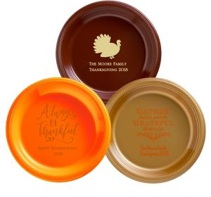 Personalized Thanksgiving Plastic Dinner Plates
