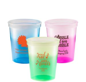Personalized Thanksgiving Color-Changing Plastic Stadium Cups 16oz