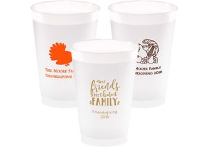 Personalized Thanksgiving Frosted Plastic Shatterproof Cups 14oz