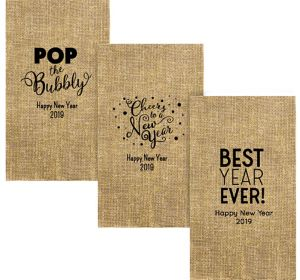 Personalized New Year's Burlap Print Guest Towels