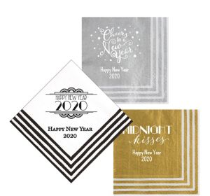 Personalized New Year's Stripe Border Lunch Napkins