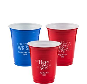 Personalized New Year's Solid-Color Plastic Party Cups 12oz