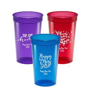 Personalized New Year's Translucent Plastic Stadium Cups 22oz