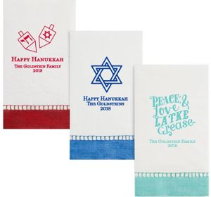 Personalized Hanukkah Bordered Guest Towels