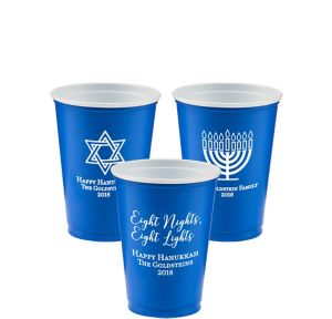 Personalized Hanukkah Solid-Color Plastic Party Cups 10oz