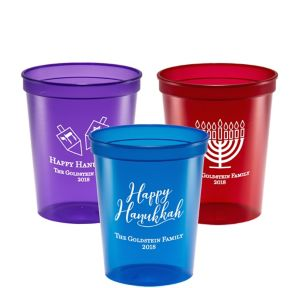 Personalized Hanukkah Translucent Plastic Stadium Cups 16oz