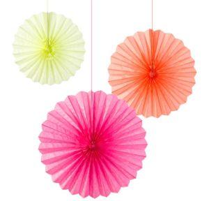 Pastel Paper Fan Decorations 3ct