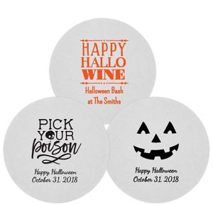 Personalized Halloween 80pt Round Coasters