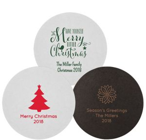 Personalized Christmas 40pt Round Coasters
