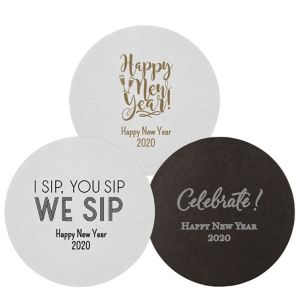 Personalized New Year's 40pt Round Coasters