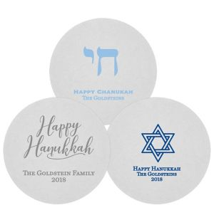 Personalized Hannukah 80pt Round Coasters