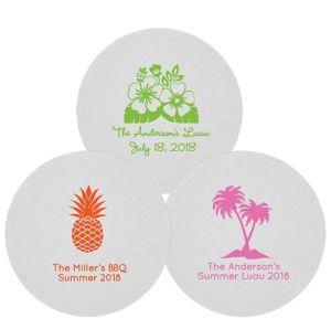 Personalized Luau 80pt Round Coasters