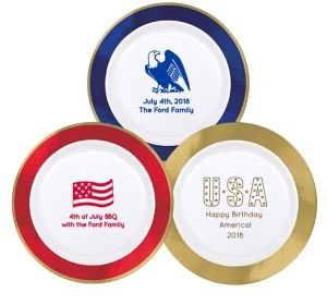 Personalized 4th of July Premium Round Trimmed Dinner Plates