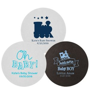 Personalized Baby Shower 40pt Round Coasters