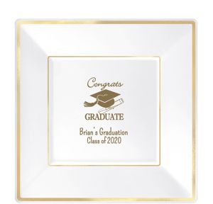 Personalized Graduation Premium Square Trimmed Dinner Plates