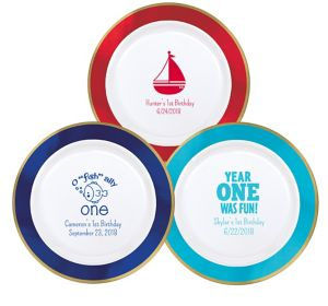 Personalized 1st Birthday Premium Round Trimmed Dinner Plates