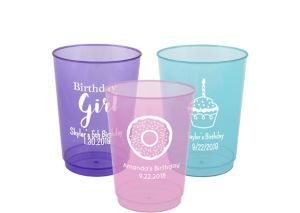 Personalized Girls Birthday Hard Plastic Color Cups 10oz