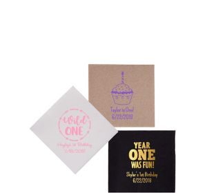Personalized 1st Birthday Petite Beverage Napkins