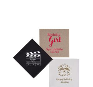 Personalized Girls Birthday Petite Beverage Napkins