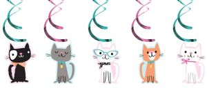 Purrfect Cat Swirl Decorations 5ct