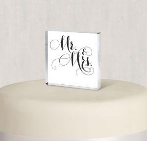Elegant Mr. & Mrs. Wedding Cake Topper