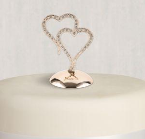 Rose Gold Sparkling Hearts Wedding Cake Topper