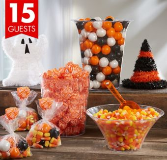 Halloween Candy Kit with Containers for 15 Guests with Ghost & Hat Decorations