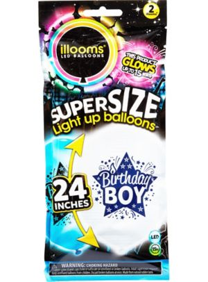 Illooms Light-Up Blue & White Birthday Boy LED Balloons 2ct
