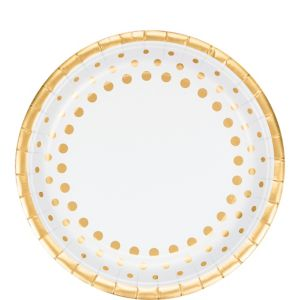 Metallic Gold Dots Lunch Plates 8ct