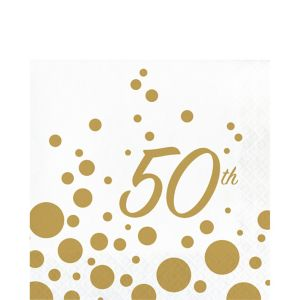 Metallic Gold Dots 50th Anniversary Lunch Napkins 16ct