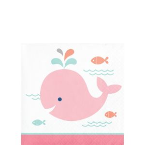 Pink Baby Whale Beverage Napkins 16ct