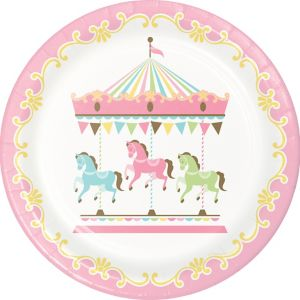 Pink Carousel Lunch Plates 8ct