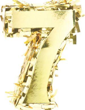 Metallic Gold Number 7 Pinata Decoration
