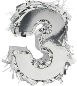 Metallic Silver Number 3 Pinata Decoration