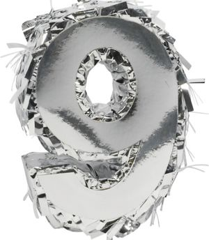 Metallic Silver Number 9 Pinata Decoration