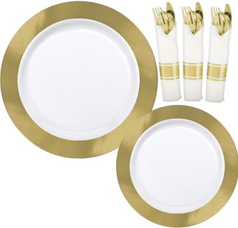 Premium Gold Border & Chevron Tableware Kit for 20 Guests