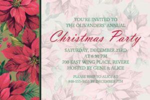 Custom Holiday Poinsettia Invitations