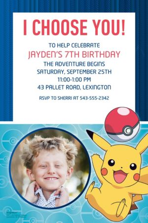 Custom Pokemon Core Photo Invitations