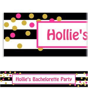 Custom Pink & Gold Confetti Banner