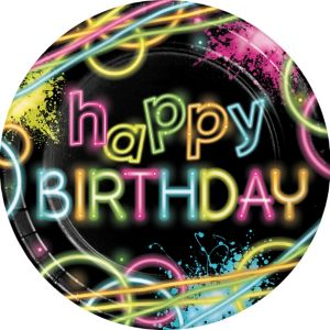 Neon Happy Birthday Lunch Plates 8ct