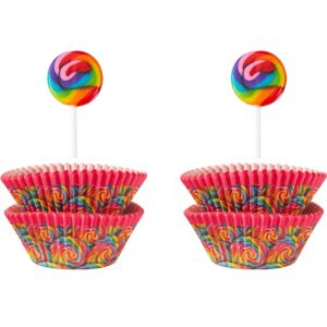 Wilton Dylan's Candy Bar Lollipop Cupcake Wrappers & Picks for 24