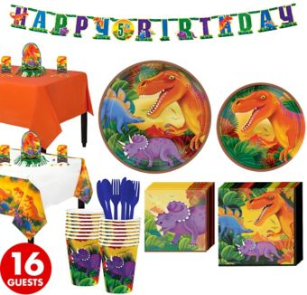 Prehistoric Dinosaurs Tableware Party Kit for 16 Guests