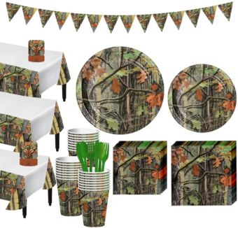 Hunting Camo Tableware Party Kit for 24 Guests
