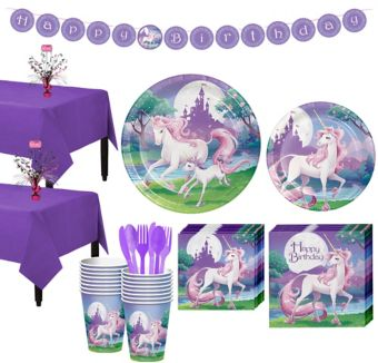 Unicorn Tableware Party Kit for 16 Guests